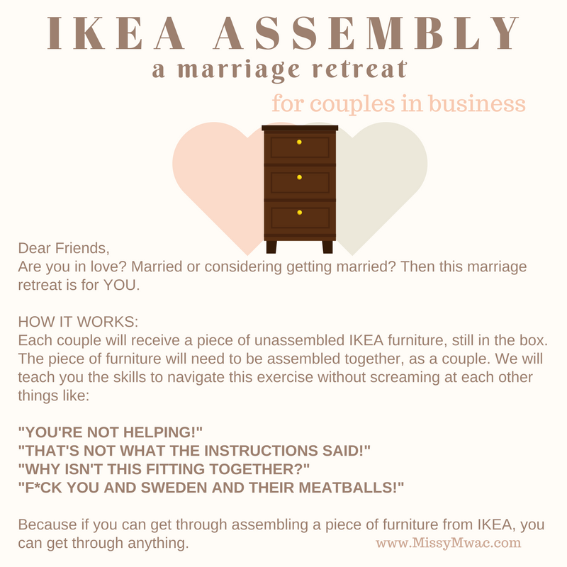 IKEA Assembly Marriage Retreat - Missy Mwac